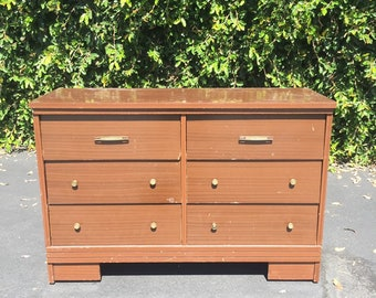 Vintage Mid Century Project Six (6) Drawer Double Dresser Chest of Drawers, MCM Media Console, Mid Century Nursery Dresser, Project Dresser