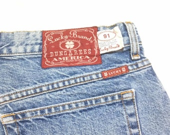 Vintage Lucky Brand Dungarees Jeans 91 Relaxed Fit Made in USA Blue Denim Mens 38 x 34
