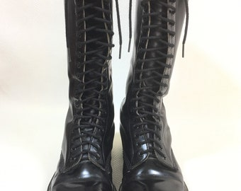 RARE Vintage Dr Martens Made in England 20 Eye Hole Black Oiled Leather Knee High Combat Boots Mens 9 Womens 11, Vintage Docs