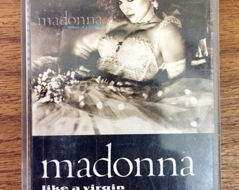 Madonna - Like a Virgin Vintage Cassette Tape, Pop Rock Cassette Tape, Madonna Cassette Tape, 80s Music Cassette Tape, Synth Pop Cassette