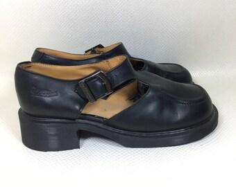 90s Vintage Dr. Martens Docs Black Mary Jane T Strap Square Toe Babydoll Platforms Shoes Made in England 9US, Vintage Docs Black Mary Janes