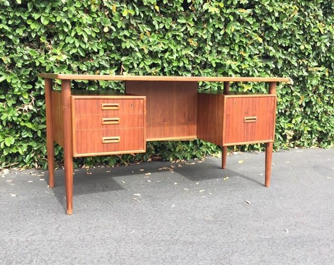 Featured listing image: Danish Modern Teak Desk, Mid Century Modern Floating Top Desk, MobelFabrik Denmark Mid Century Modern MCM Finished Desk