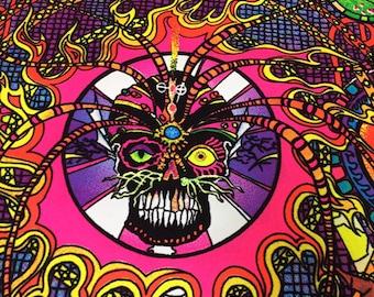 """Vintage 70's Black Light Poster Used Sun Moon Skulls Flies Spiders. 22x32"""""""