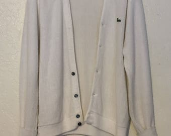 Vintage Izod of London Lacoste White Cardigan Preppy Grandpa Sweater