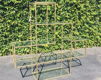 Brass and Glass Etagere in the Manner of Milo Baughman, Mid Century Modern Wall Unit Display, Modern Metal Bookshelf, MCM Tubular Shelves