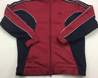 90s Vintage ADIDAS Red & Black Zip Up Track Jacket Small, 90s Adidas Jacket, Vintage Adidas Windbreaker, 90s Adidas Three Stripes Jacket Sm