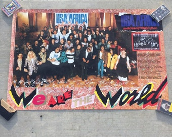 Brand new old stock 1980's We Are The World Usa For Africa Relief Poster