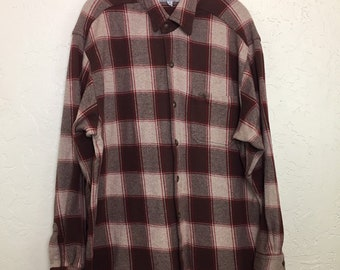 90s Vintage Guess Burgundy Plaid Flannel Button Up, Vintage Guess Maroon Flannel Plaid Button Down, Vintage Guess Checkered Oxford Shirt