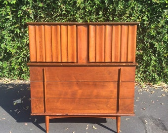 Mid Century Modern High Boy Dresser by United Furniture, MCM Sculpted Tall Chest of Drawers, Mid Century Danish Modern Dark Walnut Dresser