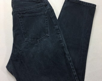90s Vintage Wrangler Black Faded High Waisted Mom Jeans 12 x 30 Made in USA, 90s Mom Jeans, Vintage Black Denim Jeans 12, Vintage Wrangler