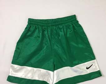 NWOT 90s Vintage Nike Green Wide White  Stripe Satin Silky Glanz Soccer Shorts Mens Medium, 90s Vintage Nike Wet Look Nylon Athletic Shorts