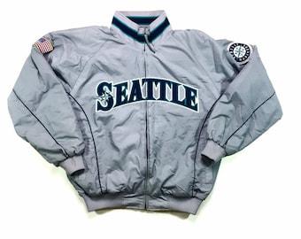 Vintage MLB Seattle Mariners Majestic Therma Base Dug Out Jacket Xl, Vintage Seattle Mariners Fleece Lined Jacket Xl, Mariners Jacket Xl