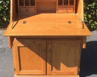 SOLDVintage Slanted Drop Front Secretary Desk, Boho Chic Desk, Secretary Desk, Vintage Dresser Desk, Vintage Secretary Desk