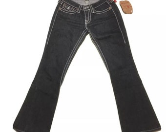 NWT Y2K Vintage True Religion Jeans Joey Big T Twisted Flare Leg Low Rise Black Denim with White Stitching Size 27