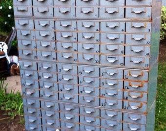 Vintage Industrial Metal Drawers by Lyon, Metal Industrial Storage Cabinet, Vintage Rustic Industrial Parts Bin Cabinet, Industrial Storage