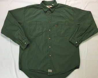 90s Vintage Levis Green Twill Oversized Button Down Shirt L, Vintage Levis Green Denim Oversized Button Up Shirt L, 90s Levis Grunge Shirt L