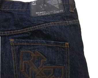 Y2K Vintage Rocawear Jeans Relaxed Baggy Fit Indigo Rinse Dark Denim RN# 10-683-0 CA#03877 42 x 32