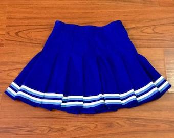 Vintage Authentic Cheerleading Uniform Skirt, Vintage Pleated Cheerleader Skirt, Vintage Blue White Cheer Skirt, Cheerleader Costume Skirt