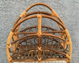 Vintage boho chic rattan magazine rack wicker rack