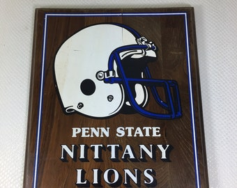 """Vintage Penn State Nittany Lions Football Wood Plaque 12x10"""""""