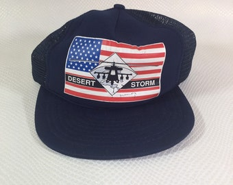 Vintage 1990's Trucker Cap Hat Operation Dessert Storm Iraq Army USMC Navy Bush