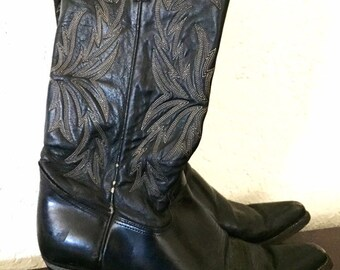 Vintage Black Leather with White Stitiching Cowboy Boots, Black Western Boots, Male Size 9D