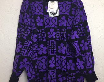 NWT 90s Vintage Black and Purple Floral Pattern Pull Over Sweater by Classic Essentials, 80s NWT Bright Color Grandma Sweater