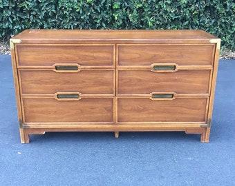 Drexel Mid Century Double Dresser, Vintage Campaign Dresser, Mid Century Chest of Drawers, Mid Century Bohemian Chest Drawers, Boho Dresser