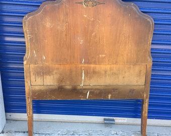 Vintage twin sized walnut headboard