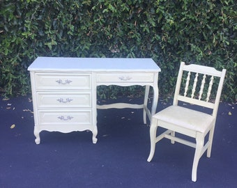 Vintage French Provincial Light Creamy Avocado Green Desk and Chair by Henry Link, Shabby Chic Vanity Desk & Chair, Princess Desk with Chair