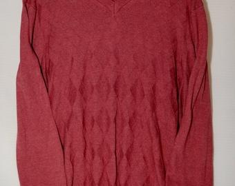 Vintage Burgundy Rusty Red Knit Oversized Pullover V Neck Sweater, Knit Sweater, Oversized Sweater, V Neck Sweater, V Neck Pullover
