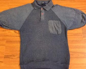 80s Vintage Blue Polo Shirt, Mens Vintage Blue Golf Shirt, Vintage Blue Collar Shirt, 80s Mens Vintage Fashion, 80s Vintage Golf Polo Shirt