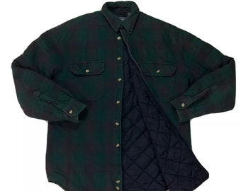 Vintage Faded Green Burgundy Plaid Quilted Flannel Work Shirt Jacket S, Checkered Button Down S, Flannel Button Up S, Vintage Flannel Shirt