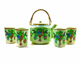 Vintage Tea Set Made in Japan Green Tea Pot 4 Tea Cups, Japanese Tea Service , Hand Painted Ceramic Tea Pot , Flower Tea Cup, Otagiri