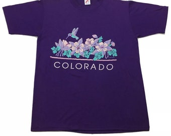 1991 Vintage Colorado Sparkle Glittery Hummingbird Flower Graphic Tee Shirt Large, 90s Vintage Single Stitch Shirt, Purple Teal T Shirt L