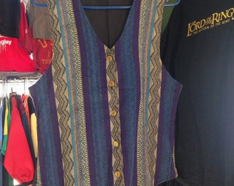 90s Vintage Anchor Blue Tribal Tapestry Vest, 90s Saved by the Bell Vest, Tribal Print Vest, 1990s Vest, Boho Vest, Bohemian Vest