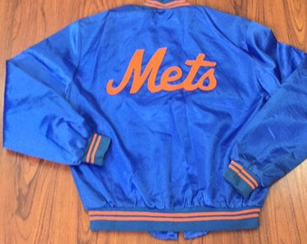 80s Vintage Official MLB New York METS Satin Snap Jacket, Vintage NY Mets Starter Satin Jacket, Vintage New York Mets Throwback Satin Jacket