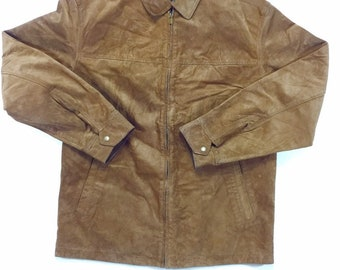 Vintage Crazy Horse by Clairborne Brown Suede Jacket Mens Medium, Vintage Brown Suede Jacket M, Vintage Brown Suede Coat Medium