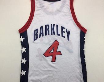 90s Vintage USA Olympics Dream Team Charles Barkley #4 Champion Jersey 40, Vintage Charles Barkley Jersey 40, 90s Vintage Champion Jersey M
