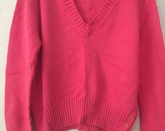 80s Vintage V Neck Pull Over Pink Knit Sweater