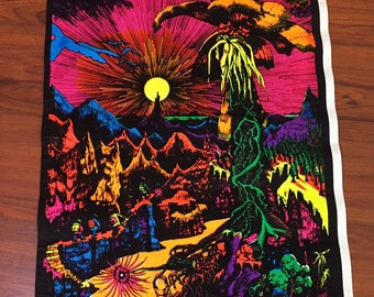Original Vintage Blacklight Poster Lost Horizon 1974 Flocked Retro Pin-up