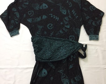 80s Vintage Mock Wrap Sheath Dress Medium, 80s Long Sleeve Shirt Dress, 80s Vintage Faux Wrap Dress, 90s Vintage Fish Pattern Dress Medium