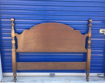 Vintage Burkey and Gay Furniture Solid Hickory Full Size Headboard Bed