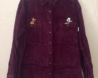 90s Vintage Mickey Mouse & Pluto Maroon Corduroy Long Sleeve Button Up Shirt, Vintage Disney Collar Button Down Shirt, 90s Burgandy Corduroy