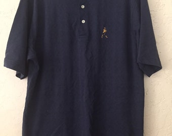 80s Vintage Preppy Blue Polo Shirt