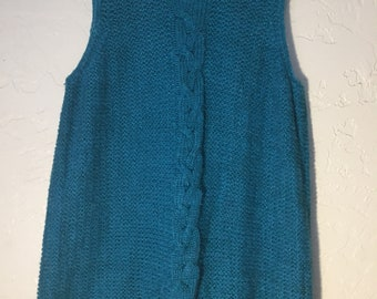 90s Vintage Cable Knit Sweater Vest, Turquoise Knit Tank Top, Aqua Crocheted Sleeveless Top
