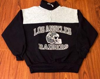 80s Vintage Los Angeles Raiders Black Grey Color Block Sweatshirt, 80s Vintage LA Raiders Two Tone Sweater, Raiders Sweatshirt, OG LA Raider