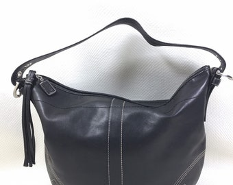 Y2K Vintage COACH Soft Black Leather Soho Hobo Large Shoulder Bag Purse, 2000s Vintage, Coach Soho Bag, Vintage Coach Bag, Black Leather Bag