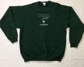 90s Vintage GUESS Jeans Big Logo Crewneck Pullover Forrest Green Sweatshirt XL, Oversized Baggy Vintage Streetwear Xl, Hip Hop Sweatshirt Xl