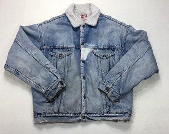 90s Vintage Levis Made in USA Sherpa Lined Jean Jacket Large, Blue Denim Jacket, Grunge Jean Jacket, Distressed Jacket, Trucker Jacket